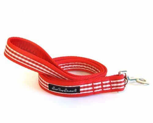 Red Gingham Handmade Dog Lead