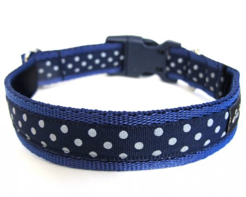 Navy Polka Dot Handmade Dog Collar