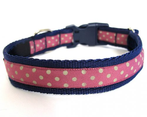 White on Pink Polka Dot Handmade Dog Collar