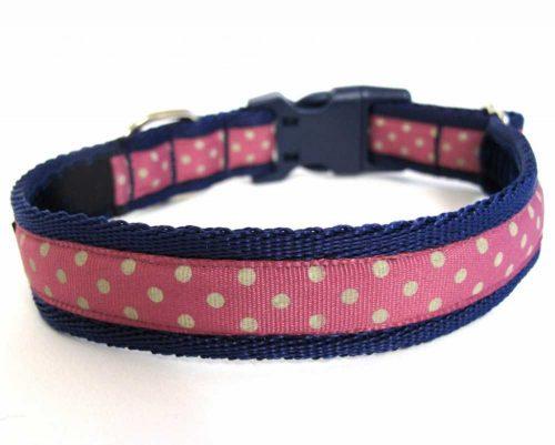 White on Pink Polka Dot Handmade Dog Collar