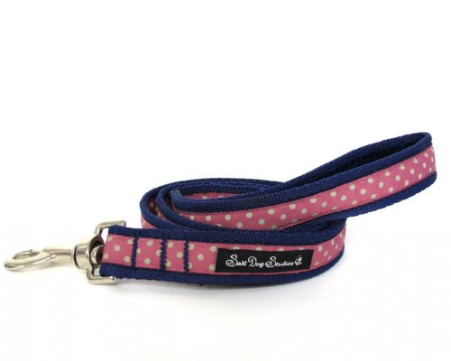 White on Pink Polka Dot Handmade Dog Lead