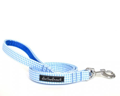 blue gingham Handmade Dog Lead