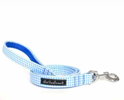 blue gingham Handmade Dog Lead