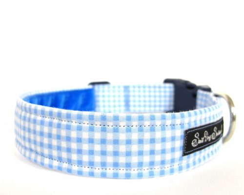 blue gingham Handmade Dog Collar