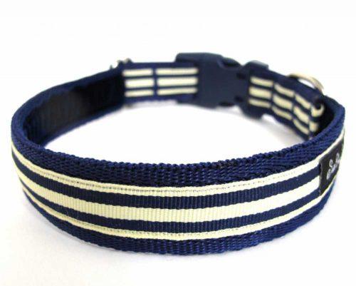 Navy Blue and Cream Dog Collar