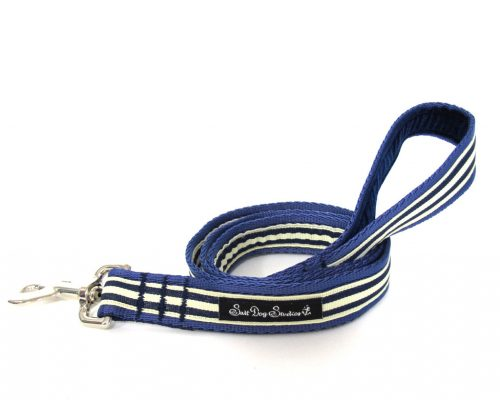 Navy blue and cream stripe dog lead