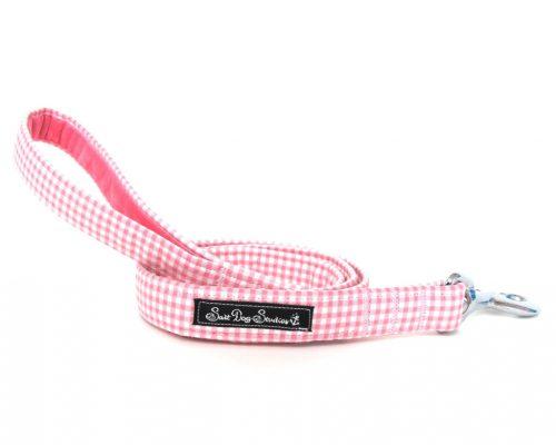 Pink Gingham Handmade Dog Lead