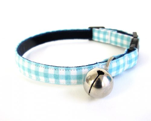 Blue Gingham Cat Collar