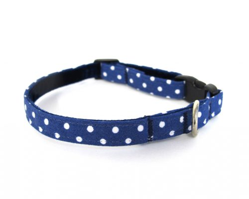 Navy Polka Dot Teeny Weeny Dog Collar