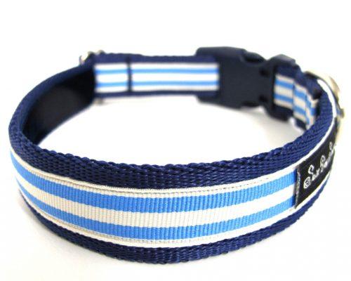 Handmade Blue and Cream Dog Collar