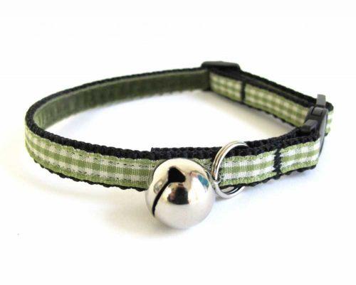 green gingham cat collar