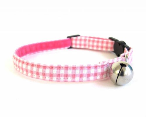 Pink Gingham Cat Collar