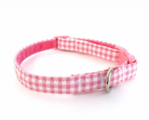Pink Gingham Teeny Weeny Dog Collar