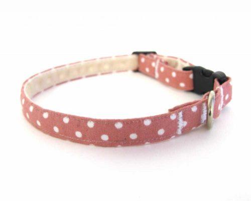 Pink Polka Dot Teeny Weeny Dog Collar
