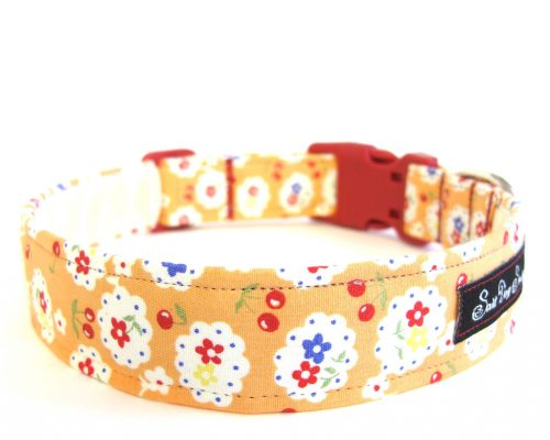 Betsy Orange Handmade Dog Collar