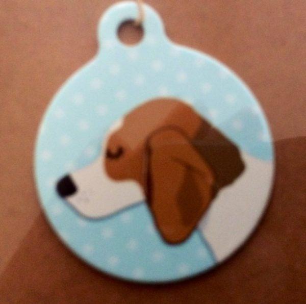 beagle duo blue handmade dog tag