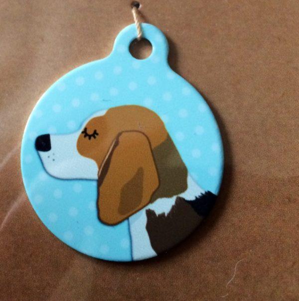beagle tri colour blue handmade dog tag