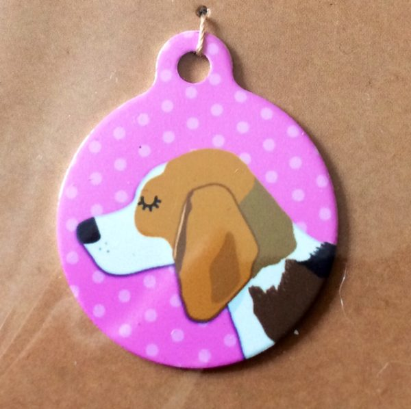 beagle tri colour pink handmade dog tag