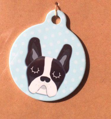 french bulldog black white pink handmade dog tag