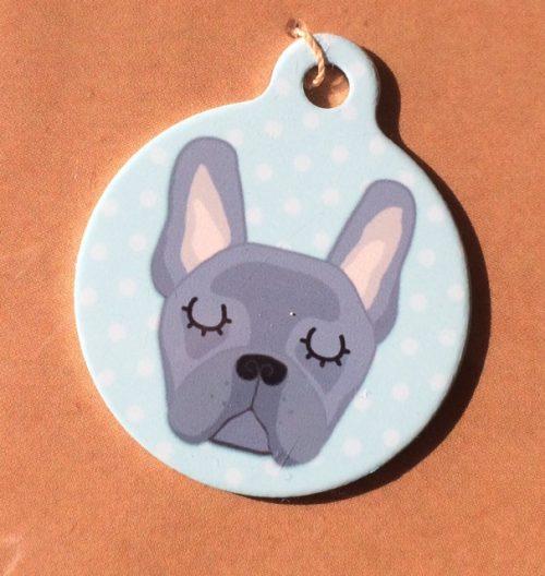 french bulldog blue blue handmade dog tag