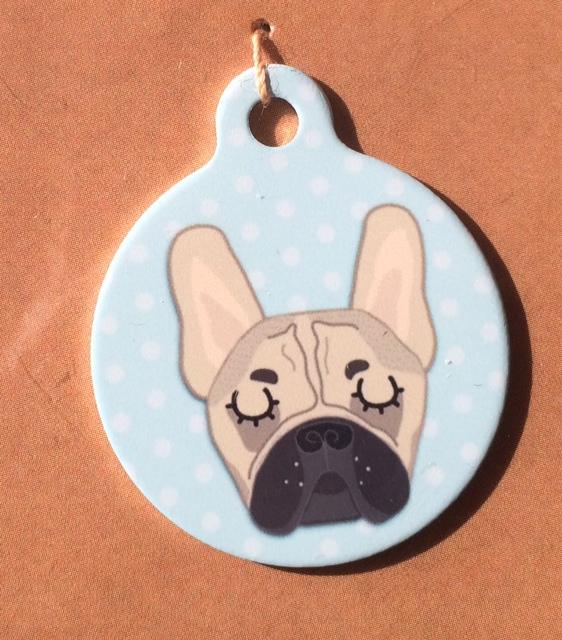 french bulldog fawn blue handmade dog tag