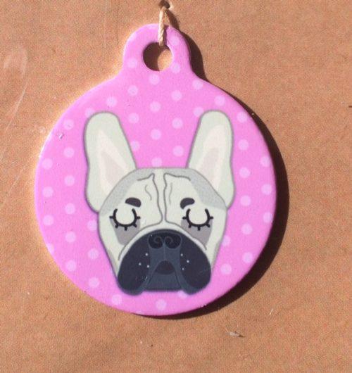 french bulldog fawn pink handmade dog tag