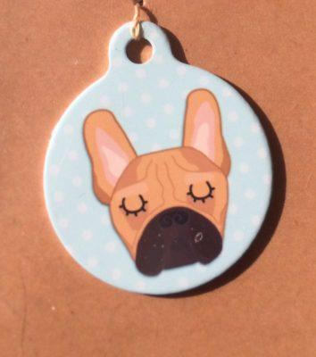 french bulldog red blue handmade dog tag