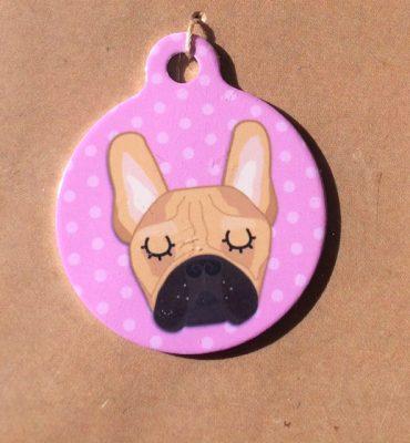 french bulldog red pink handmade dog tag