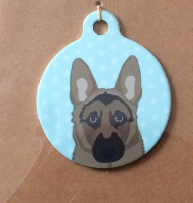 german shepherd blue handmade dog tag
