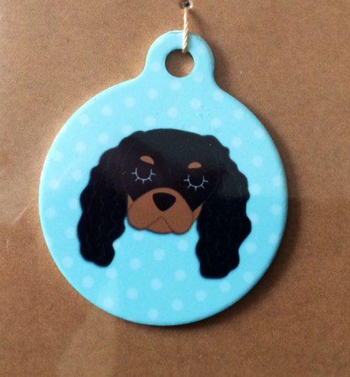 king charles black tan blue handmade dog tag