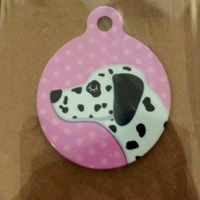dalmation pink dog tag