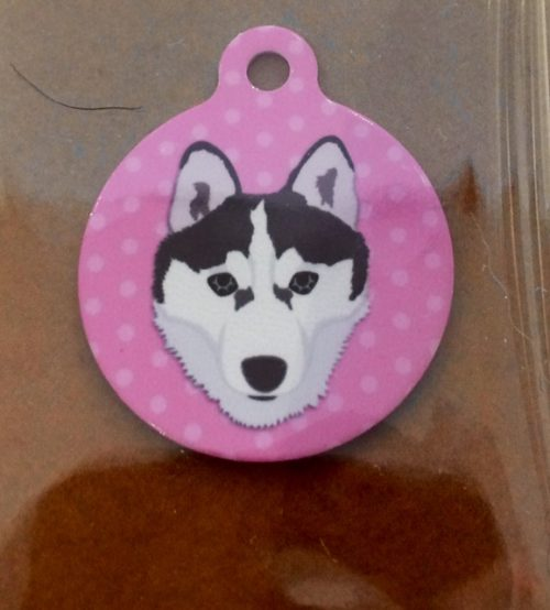 husky pink dog tag